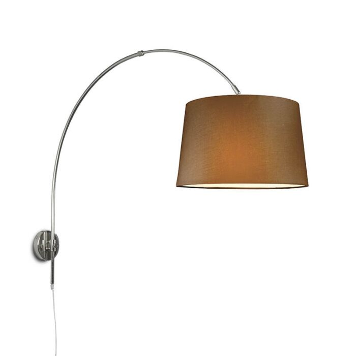 Wall-Arc-Lamp-Chrome-with-40cm-Brown-Shade