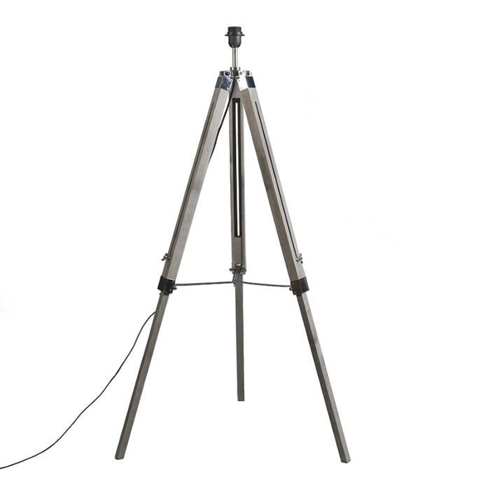 Country-floor-lamp-gray-without-shade---Tripod-vintage