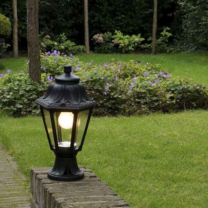 Country-Outdoor-Pedestal-Lantern-Lamp-Black-IP44---Anna