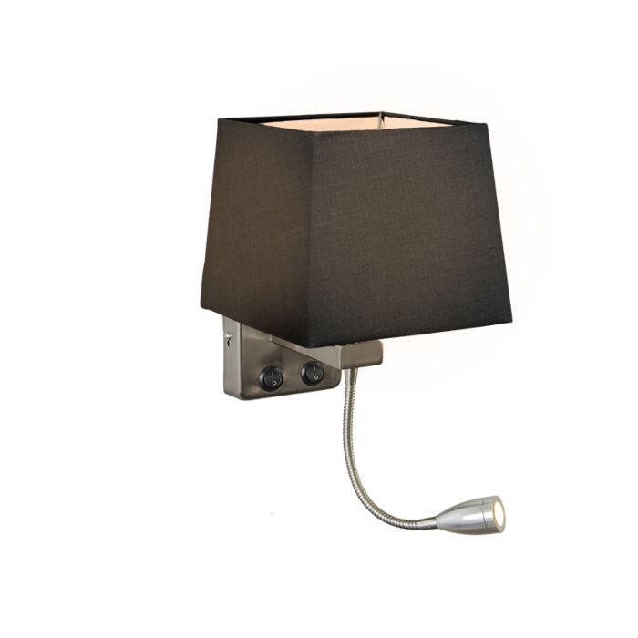 Wall-Lamp-Brescia-Steel-with-Square-Black-Shade