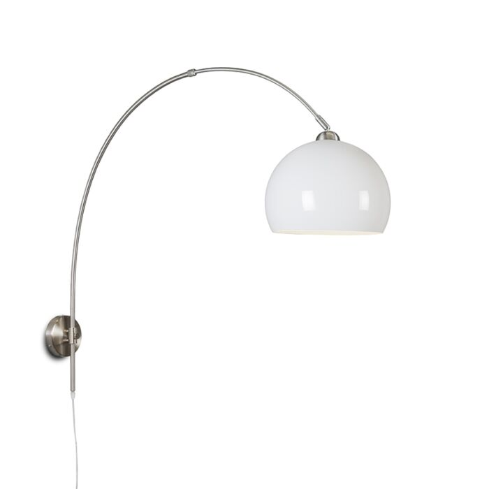 Retro-wall-arc-lamp-steel-with-white-shade-adjustable