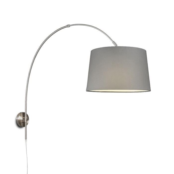 Wall-Arc-Lamp-Steel-with-40cm-Grey-Shade