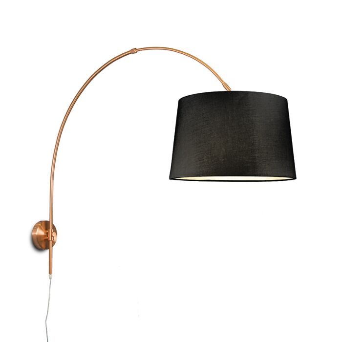 Wall-Arc-Lamp-Matte-Copper-with-40cm-Black-Shade