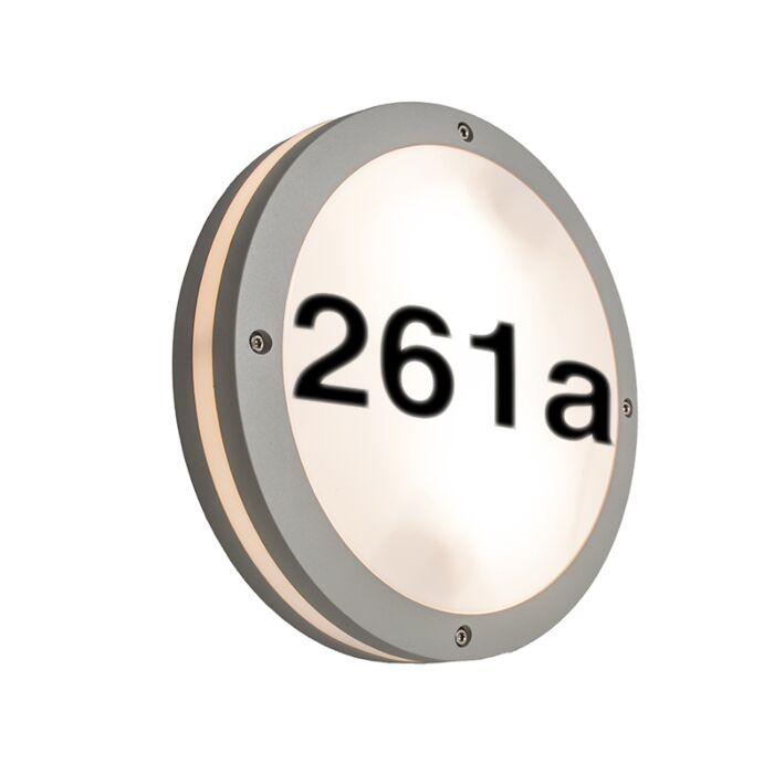Ceiling/Wall-Lamp-Glow-Round-Light-Grey-with-House-Number-Stickers