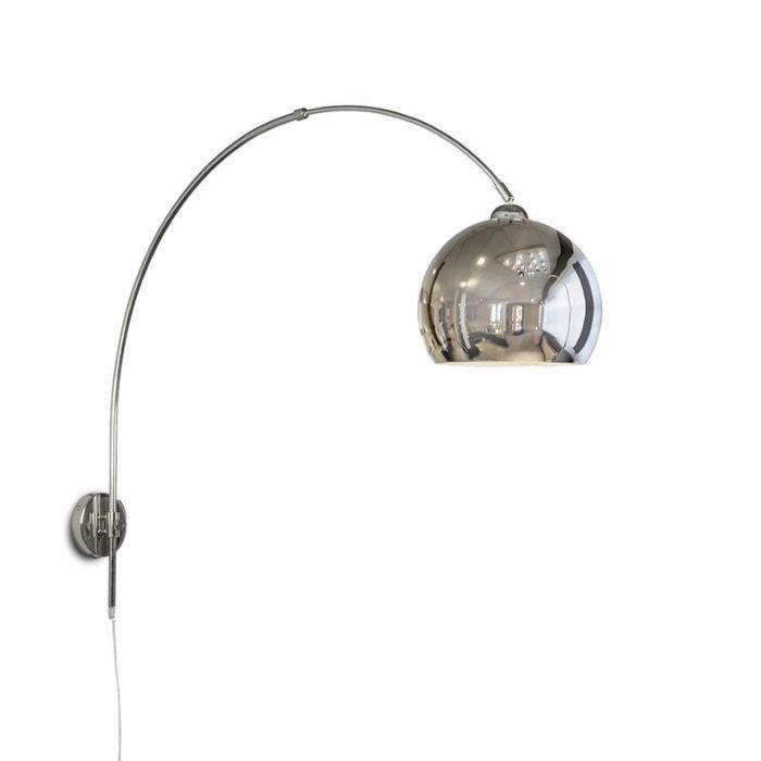 Wall-Arc-Lamp-Chrome-with-Chrome-Globe-Shade