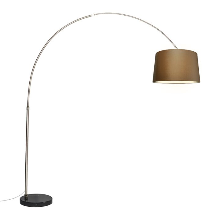 Arc-lamp-steel-fabric-shade-brown-45-cm---XXL