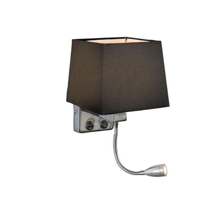 Wall-Lamp-Brescia-Chrome-with-Square-Black-Shade