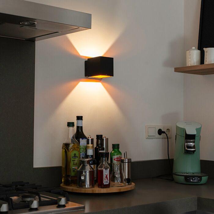 Design-wall-lamp-black-/-gold-incl.-LED---Caja