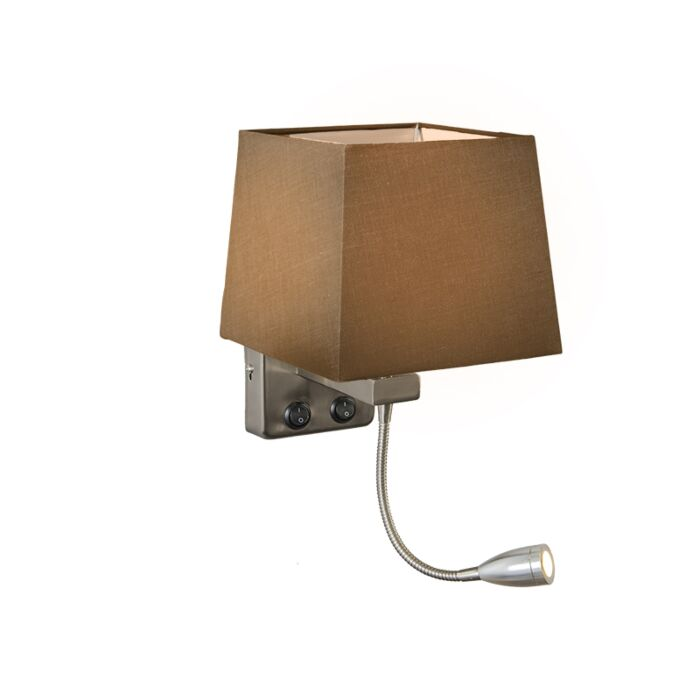 Wall-Lamp-Brescia-Steel-with-Square-Brown-Shade
