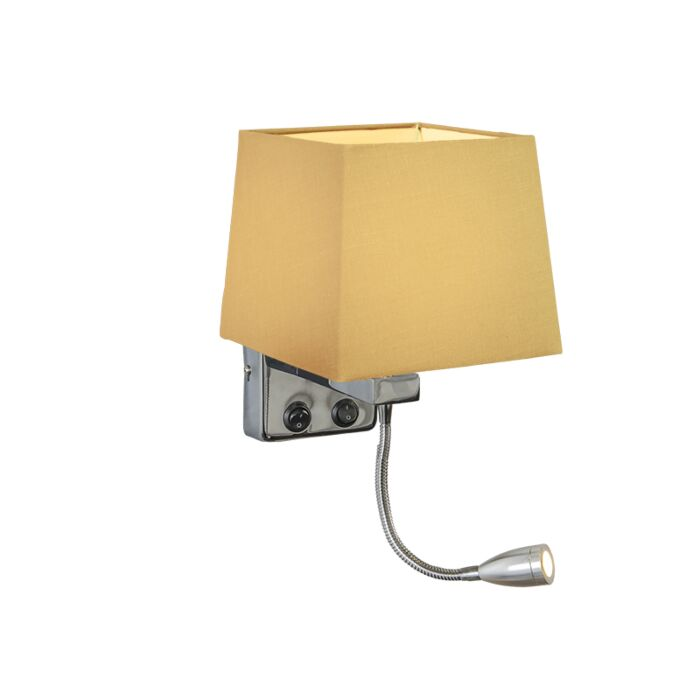 Wall-Lamp-Brescia-Chrome-with-Square-Beige-Shade