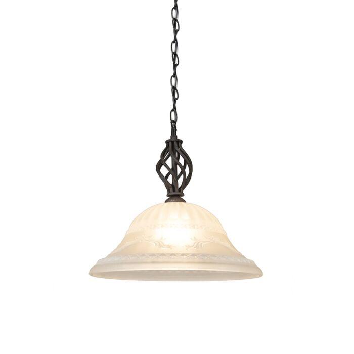 Rural-hanging-lamp-rust-brown-with-glass---Elegant-1