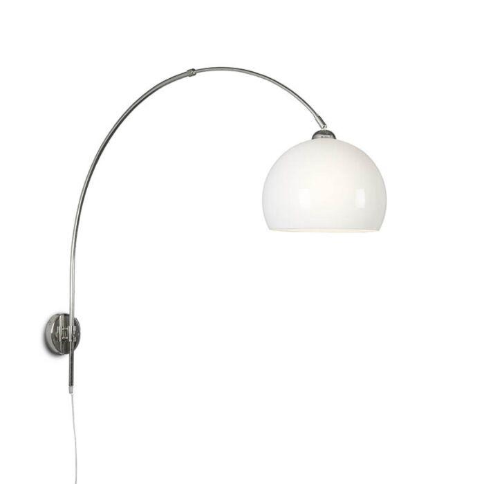 Wall-Arc-Lamp-Chrome-with-Globe-Opal-Shade