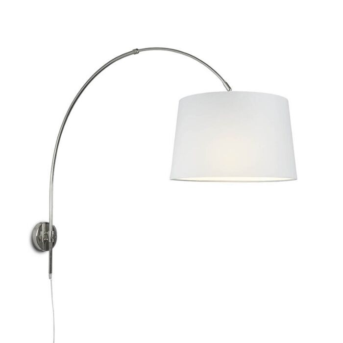 Wall-Arc-Lamp-Chrome-with-40cm-White-Shade