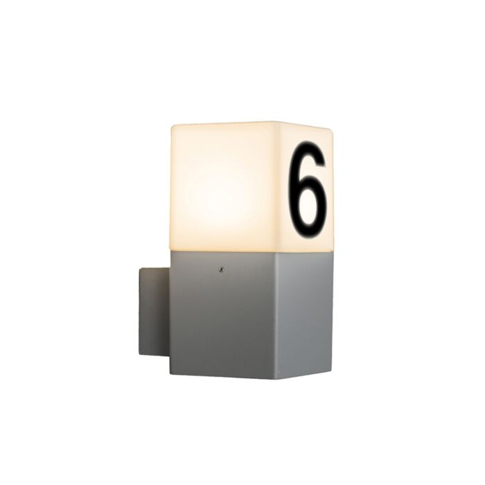 Modern-outdoor-wall-lamp-gray-IP44-with-house-number---Denmark