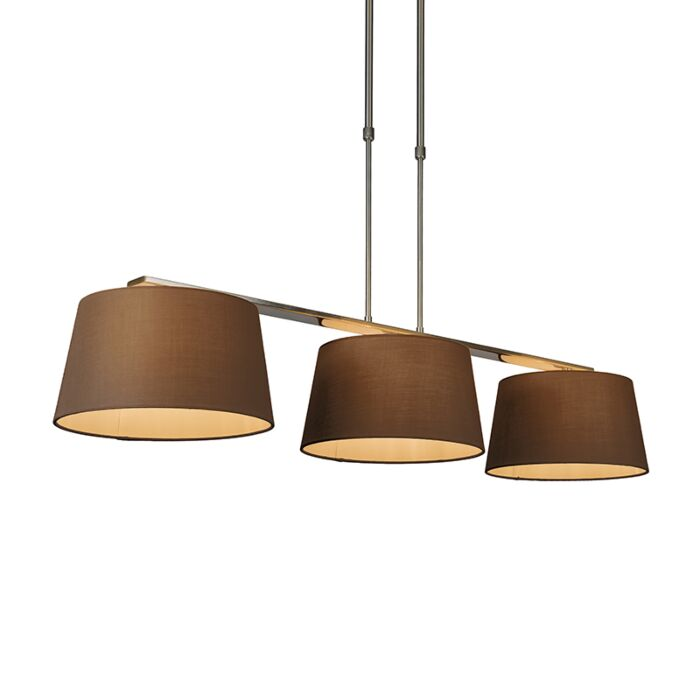 Pendant-Lamp-Combi-Delux-3-with-Round-Shades-30cm-Brown