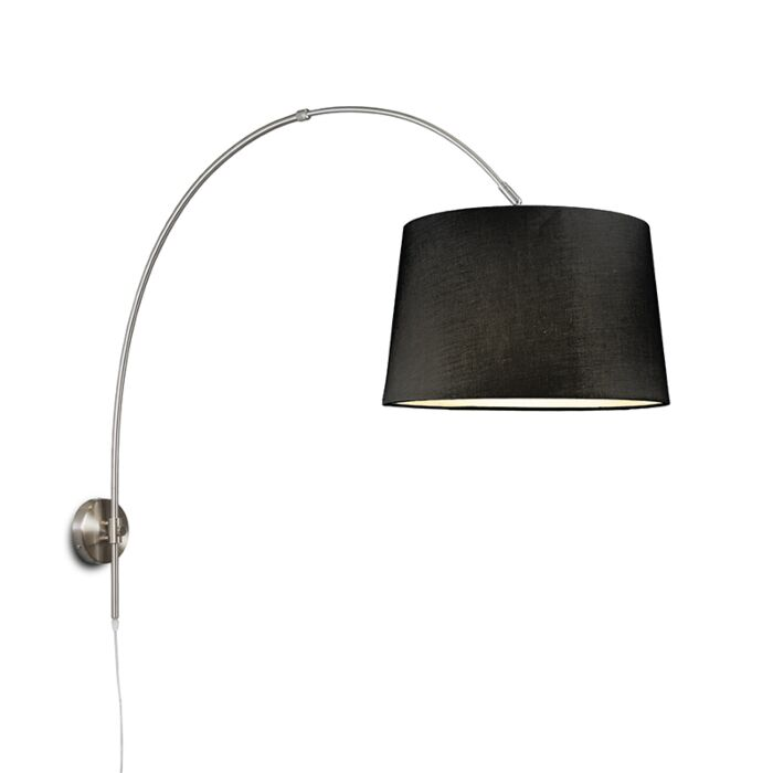 Wall-Arc-Lamp-Steel-with-40cm-Black-Shade