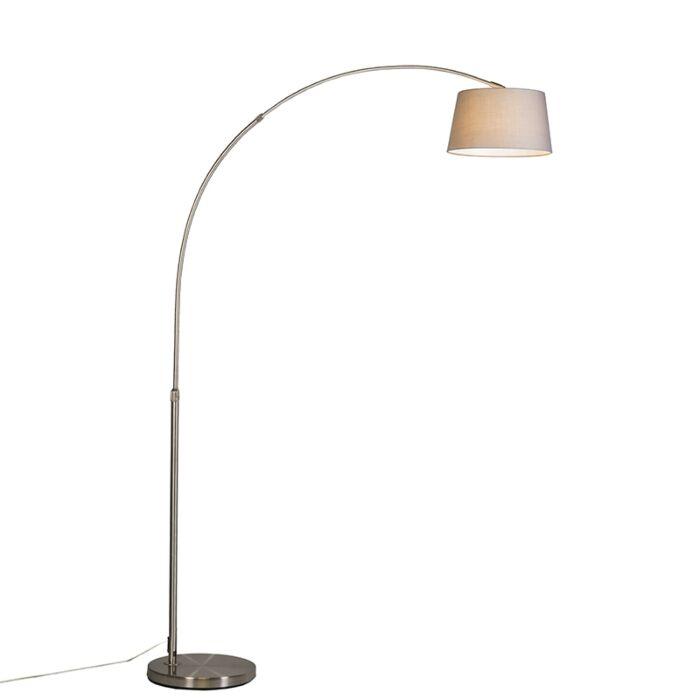 Modern-arc-lamp-steel-with-gray-fabric-shade---Arc-Basic