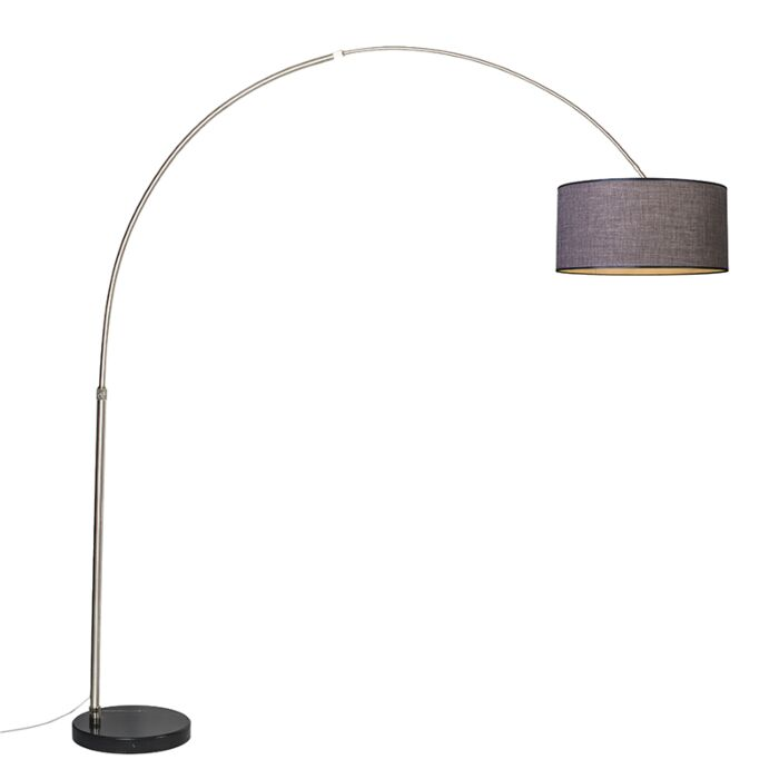 Arc-Lamp-XXL-Steel-with-Shade-50cm-Brown/Grey