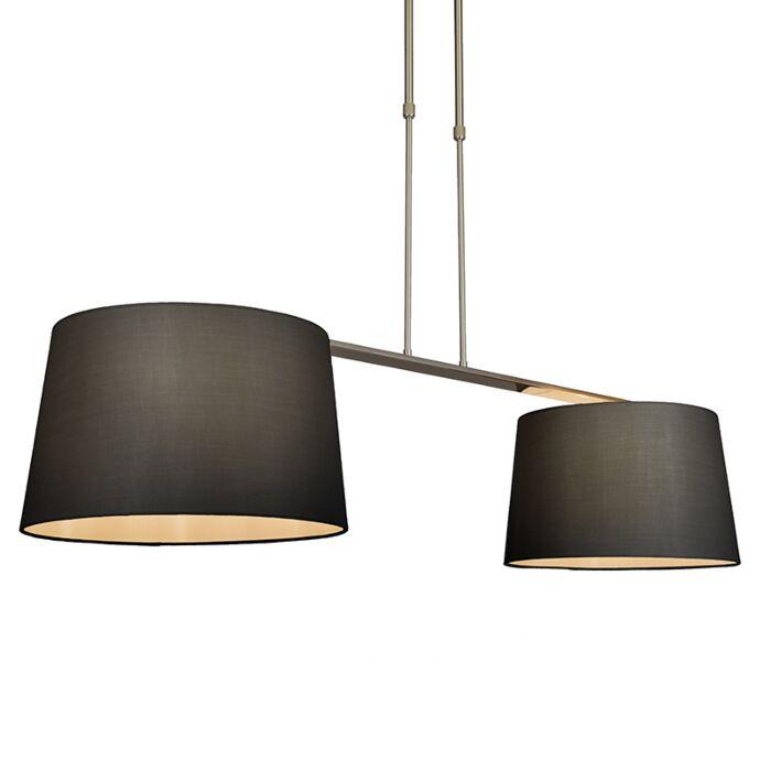 Pendant-Lamp-Combi-Delux-2-with-Round-Shades-40cm-Black