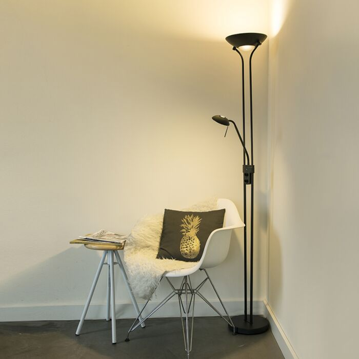 Floor-lamp-black-with-reading-lamp-incl.-LED-and-dimmer---Diva-2