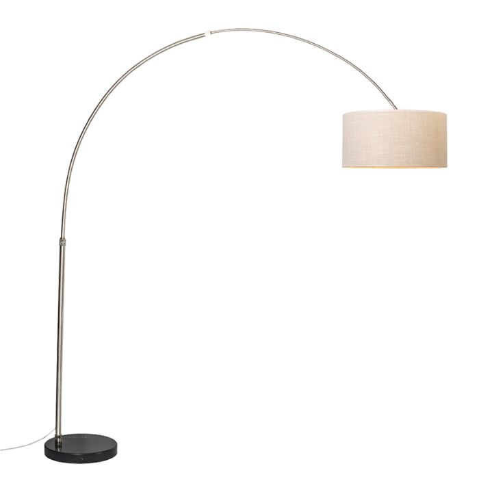 Arc-Lamp-XXL-Steel-with-Shade-50cm-Cream