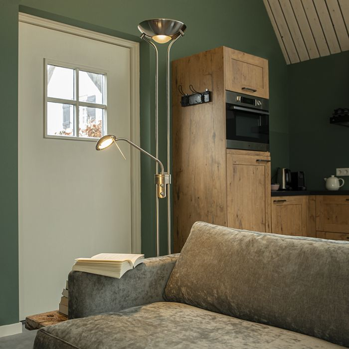 Steel-floor-lamp-with-reading-lamp-incl.-LED-and-dimmer---Diva-2