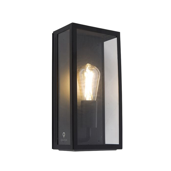 Industrial-outdoor-wall-lamp-black-IP44-with-glass---Rotterdam
