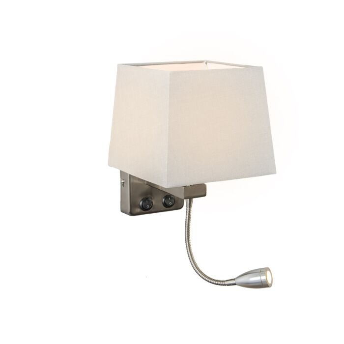Wall-Lamp-Brescia-Steel-with-Square-White-Shade
