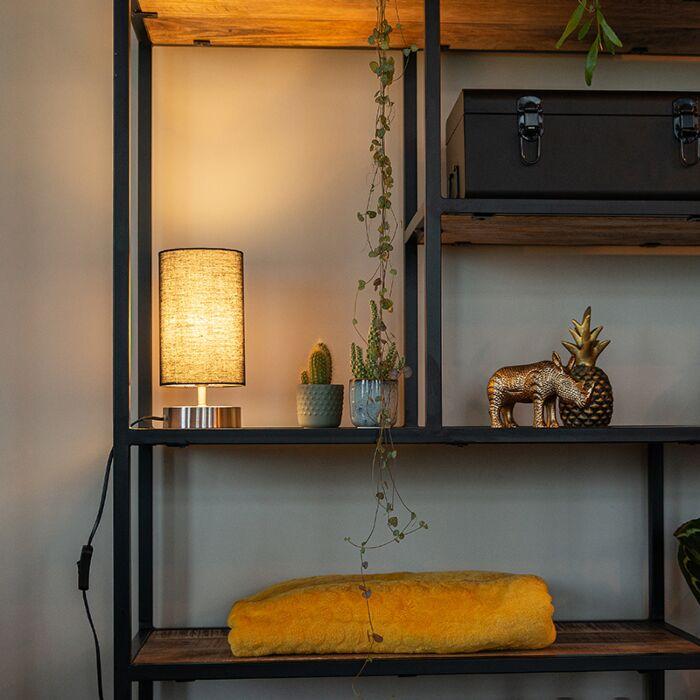 Modern-table-lamp-black-with-steel---Milo-2
