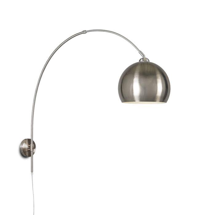 Wall-Arc-Lamp-Steel-with-Globe-Steel-Shade