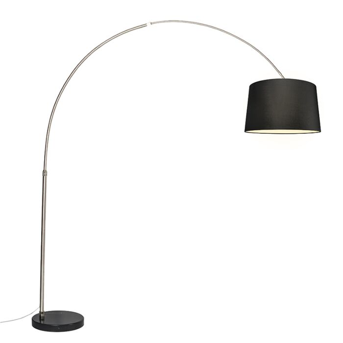 Arc-lamp-steel-fabric-shade-black-45-cm---XXL