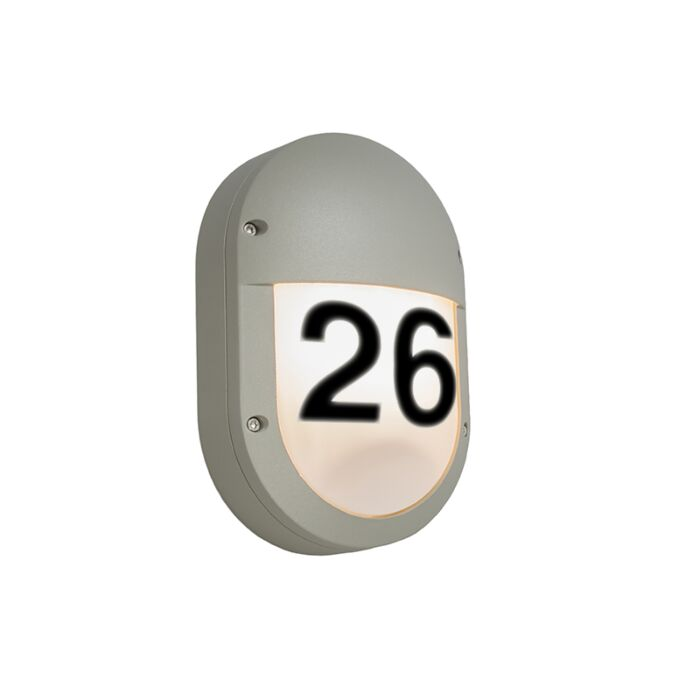 Wall-Lamp-Glow-Oval-2-Light-Grey-with-House-Number-Stickers