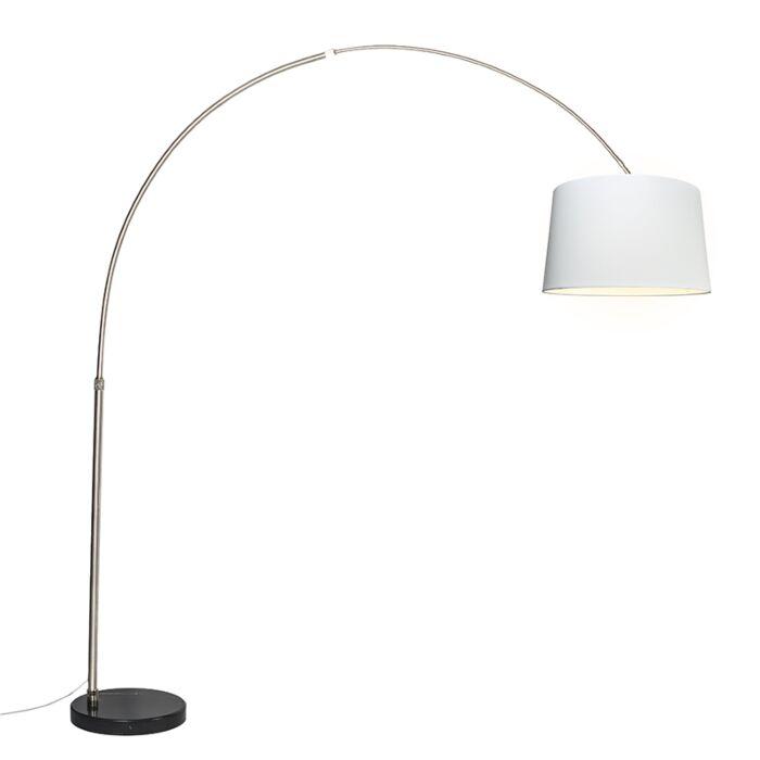 Arc-lamp-steel-fabric-shade-white-45-cm---XXL