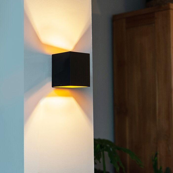 Modern-wall-lamp-black-/-gold---Sola