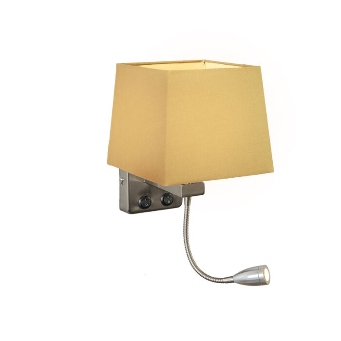 Wall-Lamp-Brescia-Steel-with-Square-Beige-Shade