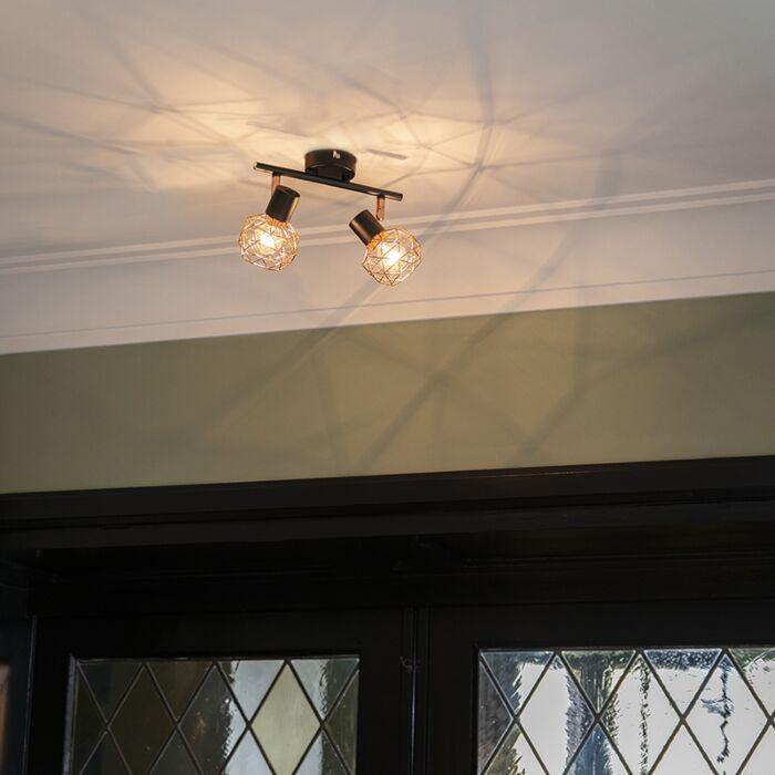 Modern-Spotlight-Copper-with-Black---Mesh-2