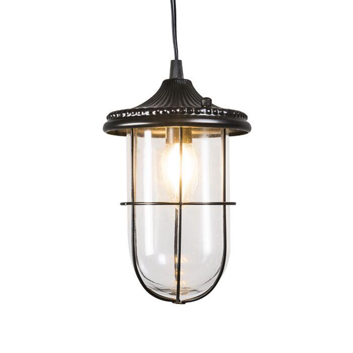Vintage-hanging-lamp-black-with-glass---Porto