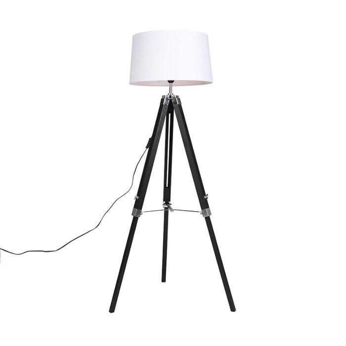 Floor-Lamp-Black-with-45cm-White-Linen-Shade---Tripod