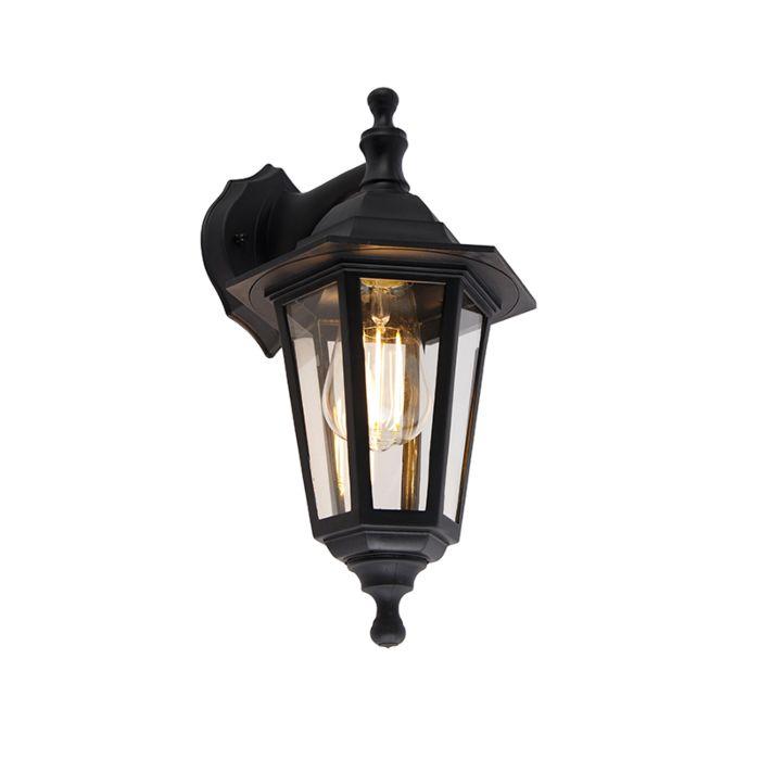 Romantic-outdoor-wall-lamp-black-IP44---New-Haven
