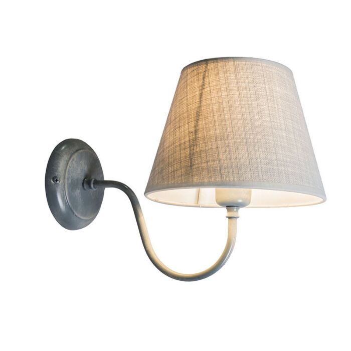 Wall-Lamp-Silea-Up-with-Shade-Antique-Grey
