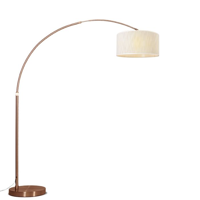 Arc-Lamp-XXL-Copper-with-Light-Brown-Melange-Shade