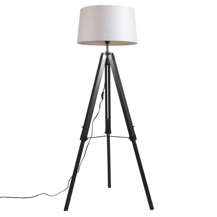 Floor-Lamp-Tripod-Black-with-Shade-45cm-Linen-Light-Grey