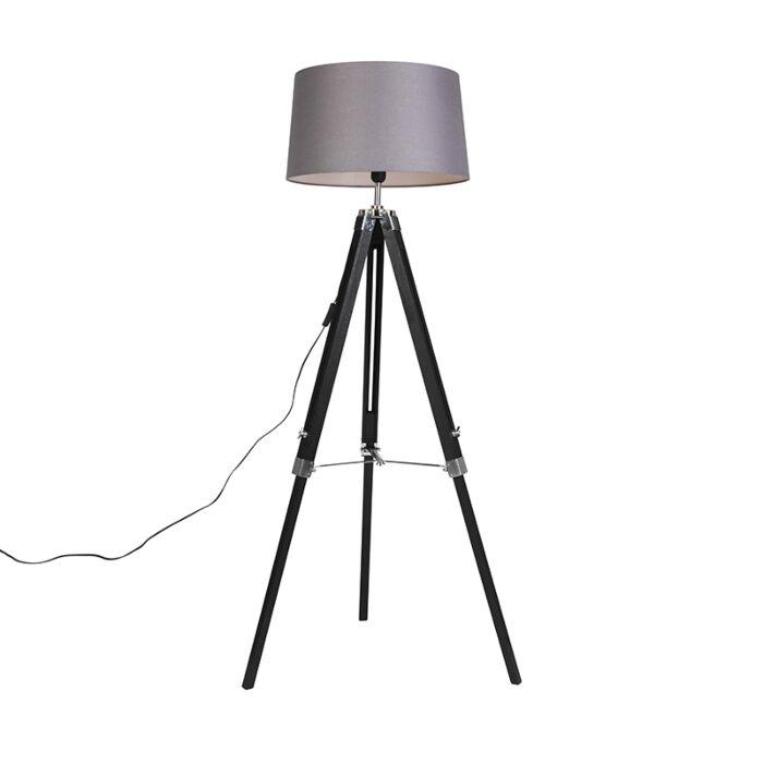 Floor-Lamp-Black-with-45cm-Dark-Grey-Shade---Tripod