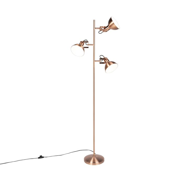 Industrial-Floor-Lamp-3-Copper-with-White-inner-Shade---Tommy