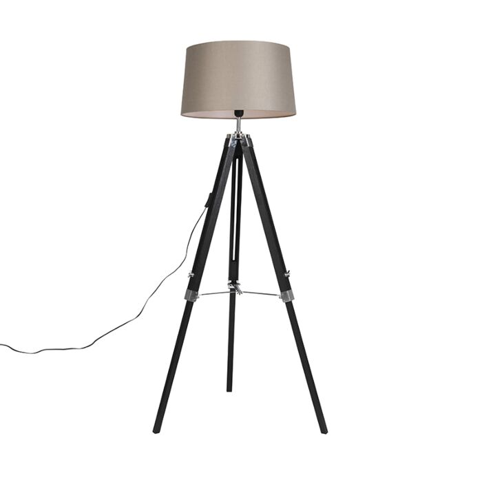Floor-Lamp-Black-with-45cm-Taupe-Linen-Shade---Tripod