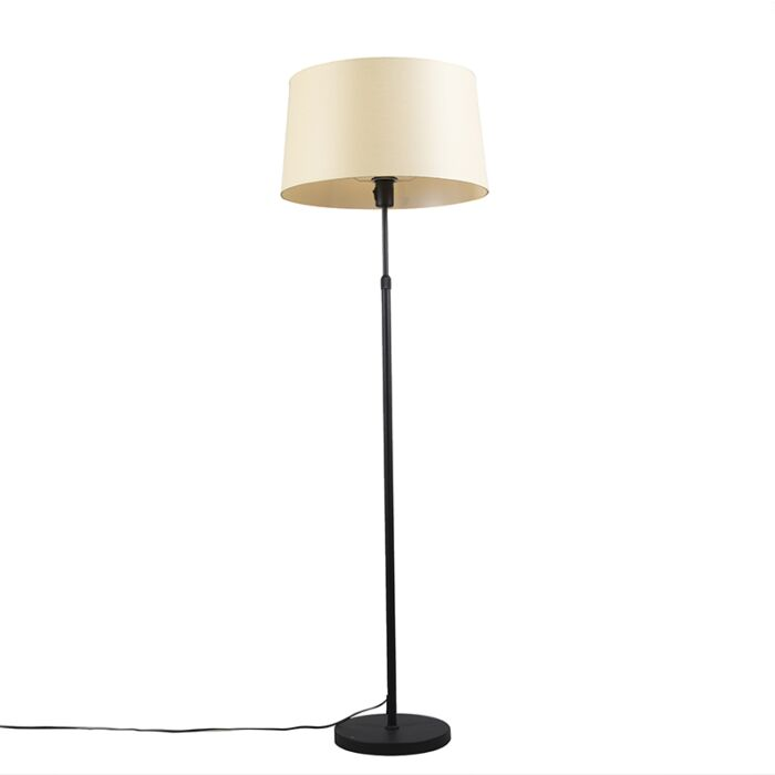 Floor-lamp-black-with-velor-shade-yellow-with-gold-35-cm---Parte
