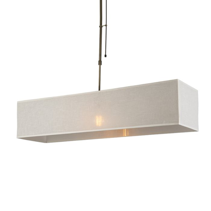 Pendant-Lamp-Mix-1-Dimmable-Bronze-with-Rectangle-Cream-Shade