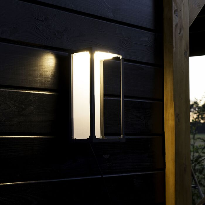 Modern-Rectangle-Outdoor-Wall-Lamp-Dark-Grey-with-White---Rotterdam