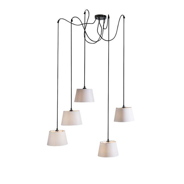 Pendant-Lamp-Cava-5-Black-with-White-Shades