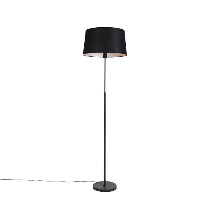 Floor-lamp-black-with-black-linen-shade-45cm-adjustable---Parte